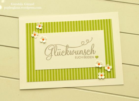 Fröhliche Hochzeitskarte mit Streublümchen
