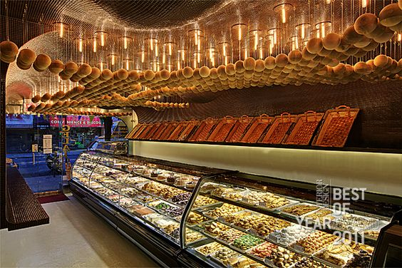 Bakery with intriguing ceiling treatment