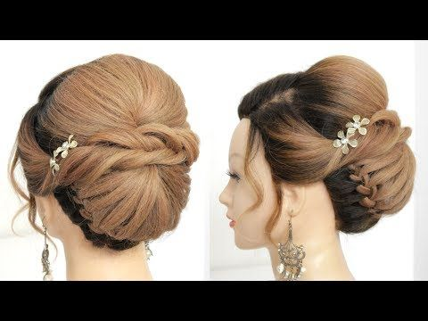 Easy Bridal Hairstyle For Long Hair With Low Braided Bun Youtube In 2020 Long Hair Styles Braided Bun Bridal Hair
