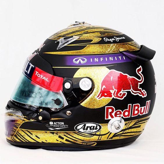 Sebastian Vettel's helmet - Nurburgring 2013 @Sarah Chintomby Chintomby Therese Bull Racing #Padgram