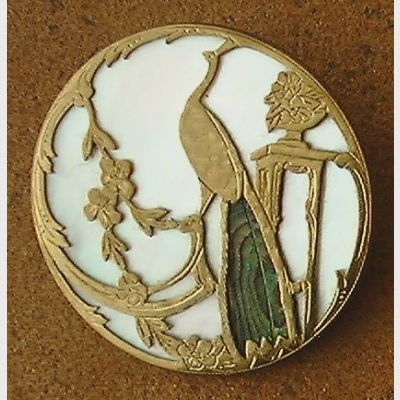 Antique peacock button with brass, abalone & mother-of-pearl.: