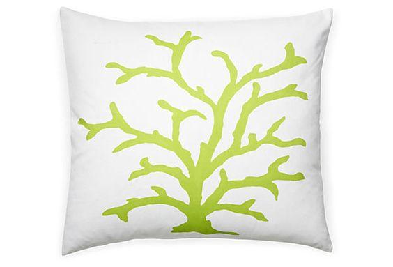 Coral 22x22 Cotton Pillow, Lime on OneKingsLane.com - paint design on pillow
