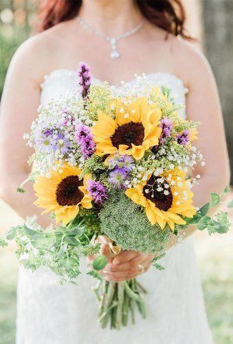 42 Brilliant Sunflower Wedding Bouquets For Happy Wedding Fall