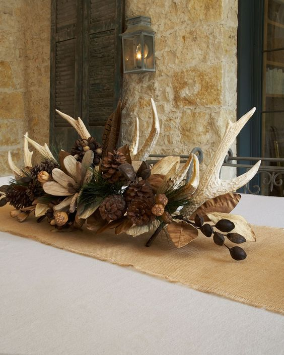 Antlers natural materials and antler centerpiece on pinterest for Antler decoration ideas