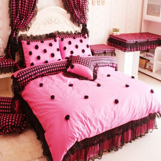 pas cher style cor en polka dot princesse jupe de lit ensemble de literie queen 4 pc noir. Black Bedroom Furniture Sets. Home Design Ideas