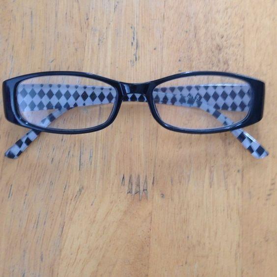 Etienne Aigner Glasses Readers, black and white plaid design, 2.0. Includes case Etienne Aigner Accessories Glasses
