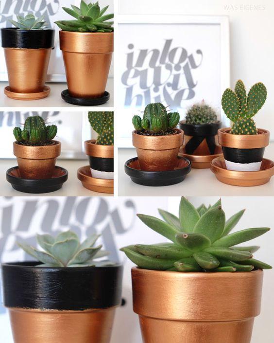 Super einfache DIY Idee zum Wochenende: Terrakotta-Töpfe bemalen.