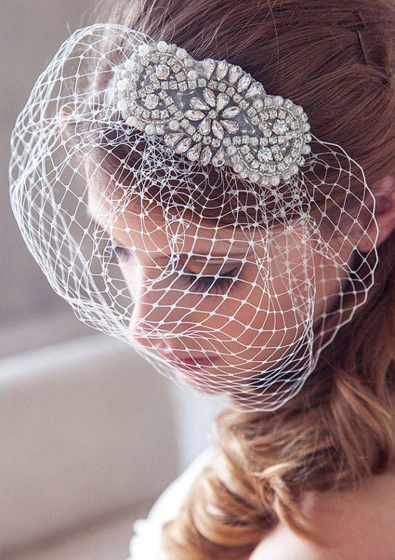 Wedding veil birdcage veil Pearl and Crystal by GildedShadows