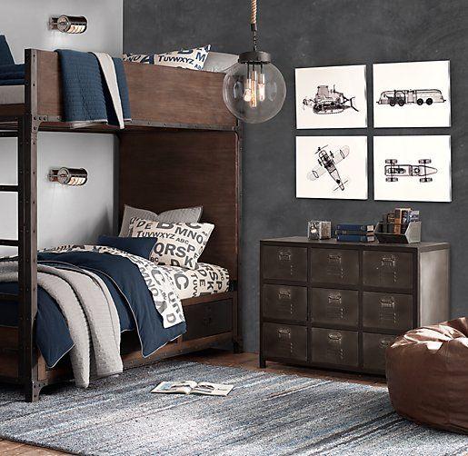 Industrial Locker Twin-Over-Twin Storage Bunk Bed