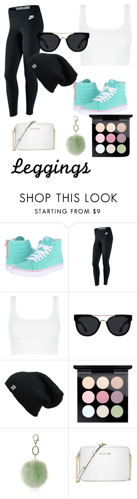 """Pop of color"" by bturspringer ❤ liked on Polyvore featuring Vans, NIKE, Quay, MAC Cosmetics, Dorothy Perkins, Michael Kors, Leggings and WardrobeStaples"