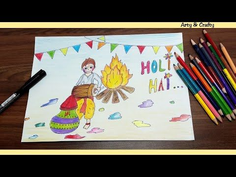 How To Draw Holi Festival Holi 2019 Easy Holi Drawing For Kids Step By Step By Arty Crafty Youtube In 2020 Holi Drawing Drawing For Kids Holi Festival