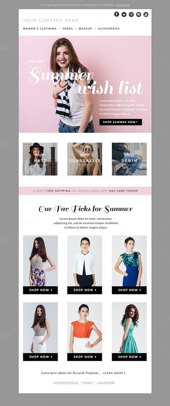 Summer Fashion E-mail Template by JannaLynnCreative on Creative Market
