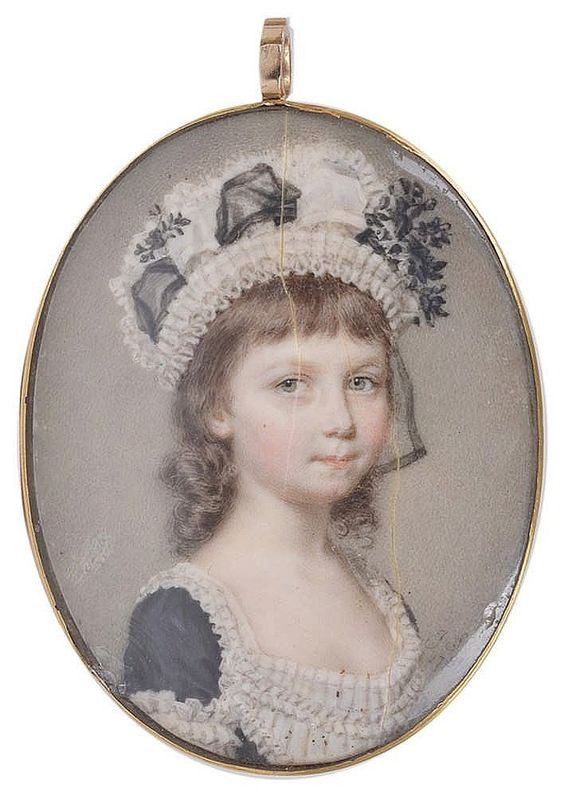 ˜A PORTRAIT MINIATURE OF A YOUNG GIRL, BY JOHN SMART (1740-1811), 1781 <br>with brown hair, wearing a muslin cap trimmed with black ribbon and flowers, her black dress with muslin trimmings matching the cap, on ivory, signed and dated, gold frame with bright-cut sides, the reverse with glazed aperture containing hair-work monogram <br>oval 4.8cm <br>: