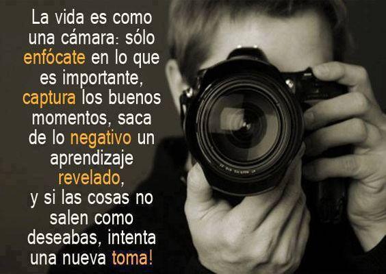 La vida es como una fotografía, si algo sale mal puedes intentar una nueva toma