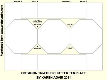 Octagon Tri Fold Shutter Template on Craftsuprint designed by ...