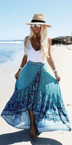 patterned wrap maxi skirt camisole and panama hat for a beautiful summer beach outfit