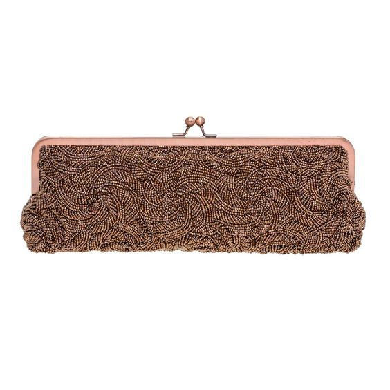 Carlo Fellini - Linda Evening Bag (61 7014) (Bronze). Versatile Handbag that can be used as a clutch or shoulder/handle drop. Exclusive Carlo Fellini Bag. Fully Beaded. Interior slide pocket. Kiss Closure.