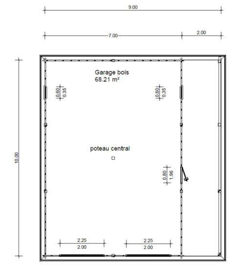 garage bois toit plat avec abris vehicule