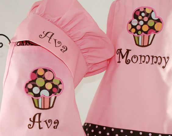 Mommy & Me Personalized apron Cupcake pink apron set girls chef hat polka dots ribbons, and Pockets - Embroidered Monogrammed. $67.00, via Etsy.
