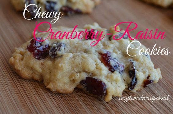 Chewy Cranberry-Raisin Cookies Recipe Desserts, Afternoon Tea with butter, brown sugar, sugar, eggs, vanilla extract, all-purpose flour, baking powder, salt, baking soda, dried cranberries, raisins, quick-cooking oats