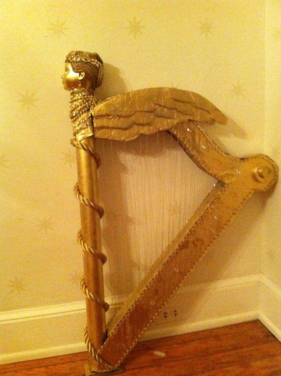 Harp made with foam,cardboard& doll head | Set design ...
