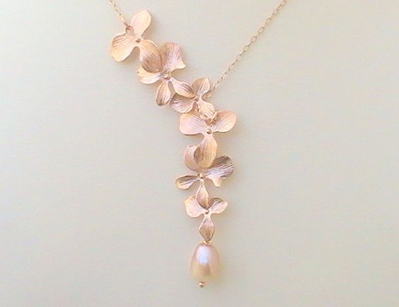 Cascading Orchid Necklace  Rose Gold Lariat by Crystalshadow