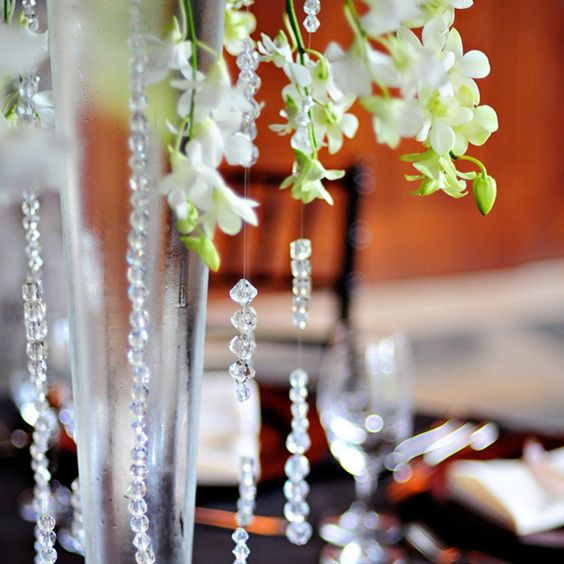 Crystals dangle from the reception centrepieces.