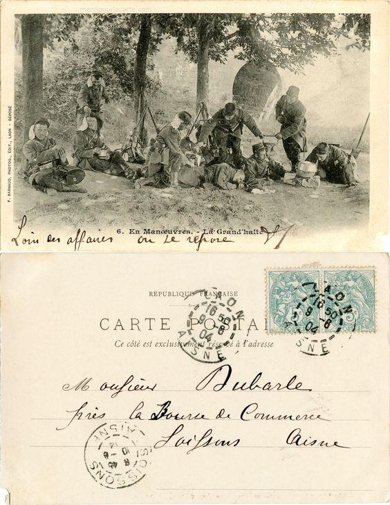 En Manœuvres - La Grand'halte - 1904 (from http://mercipourlacarte.com/picture?/1074/)