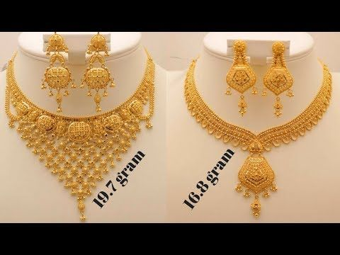 Latest Gold Necklace Designs Collections With Weight Gold Jewellery Designs Collections Youtube Gold Necklace Designs Gold Necklace Necklace Designs