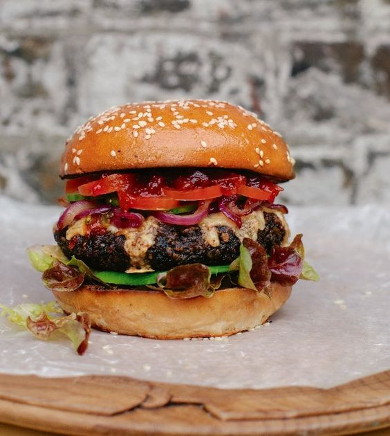 The Really Hungry Burger - Please be assured that this is not the breaded sweetcorn and mushroom mush excuse that usually shows up between two white buns. Vegan