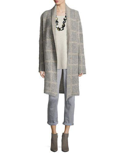 -6X7M Eileen Fisher  Windowpane-Check Shawl-Collar Coat, Moon Washable Wool Crepe Long Tank  Slim-Leg Cropped Boyfriend Jeans, Vintage Gray