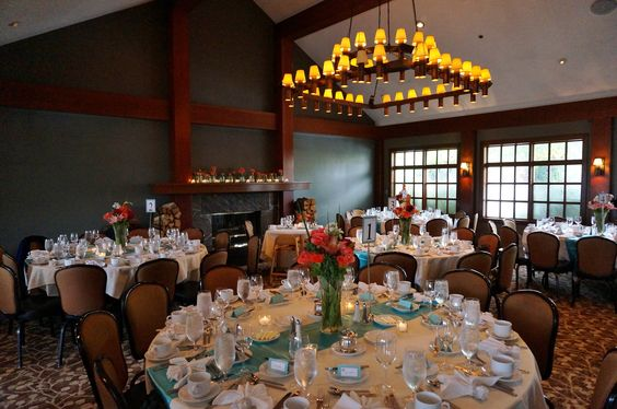 Wedding Reception Dining Room Decorated And Ready For