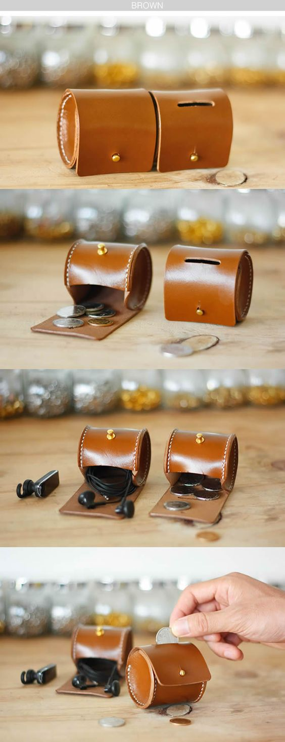 Handmade Cylinder Shaped Leather Coin Purse, THINK BIG shop small for your leathercraft supplies at Standing Bear's Trading Post 7624 Tampa Avenue, Reseda, CA. 91335 818-342-9120 inquiry@sbearstradingpost.com