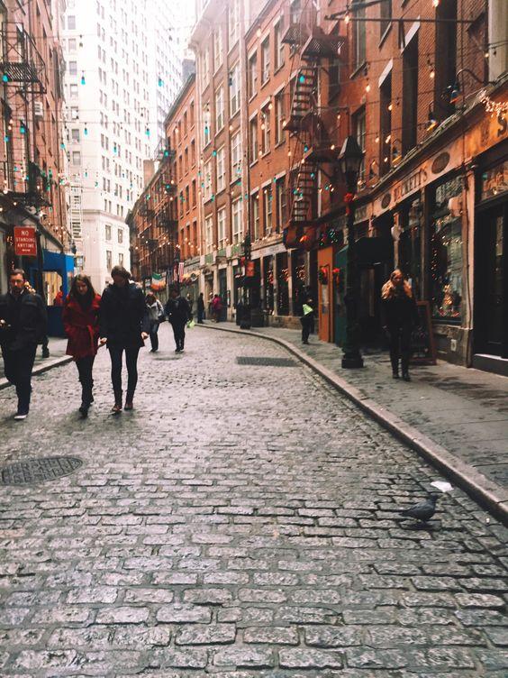 New York Explorer | Holiday lights on Stone Street.