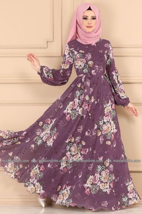 Modaselvim Elbise Balon Kol Tesettur Elbise 2219ms212 Lila Sifon Elbise Elbise Moda Stilleri