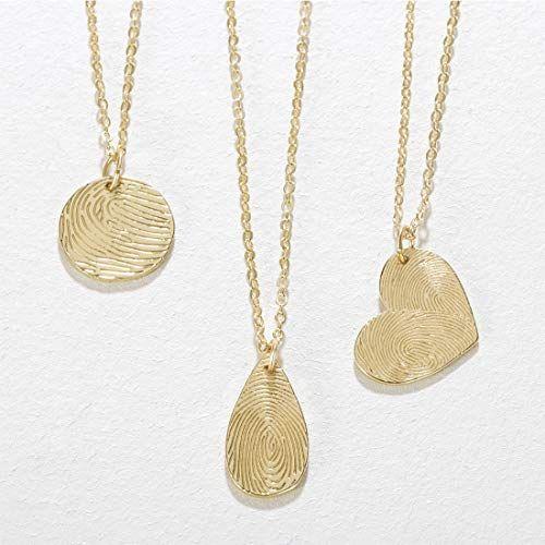 Seusuk Fingerprint Necklace Gold Dainty 14k Gold Fill Round Wafer Teardrop Waterdrop Love Heart Pendant Delic Fingerprint Necklace Fingerprint Jewelry Necklace