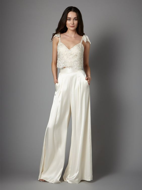 white spaghetti strap pantsuit wedding dress - wedding ideas - wedding planning services - weddings by K'Mich in Philadelphia PA - catherine deane