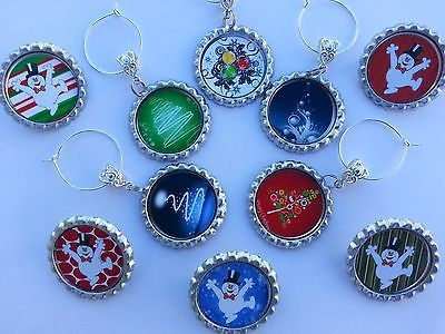 6 Christmas Table Decorations, Wine Charms or Solo Cup Charms pick your style