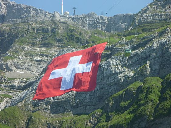 The world's biggest flag of Switzerland at the Säntis.