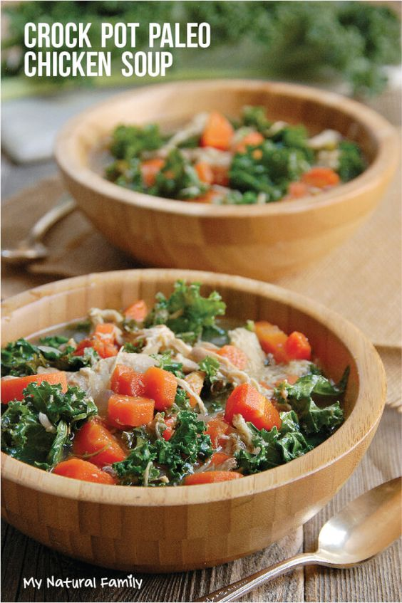 This is a one-pot Nourishing Paleo Chicken Soup Crock Pot Kale Recipe Loaded with bright vegetables and tender, fall off the bone chicken.