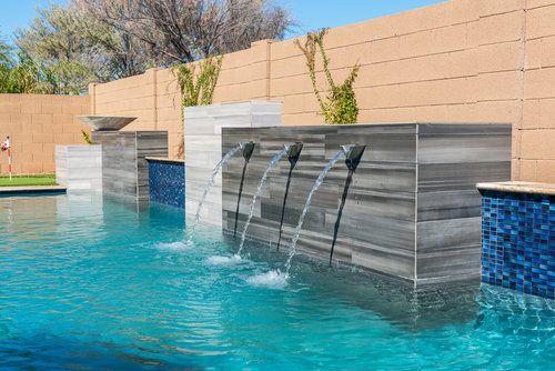 Custom Swimming Pool Features Presidential Pools Spas Patio Of Arizona Pool Water Features Pool Designs Rectangle Pool