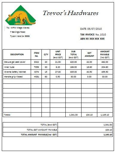 australian tax invoice template excel – neverage, Simple invoice
