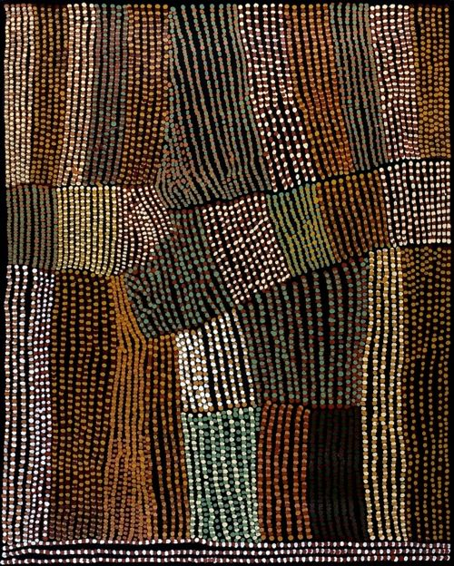 Lucy Ward (Ngarangarri, 1920 - ).  Anyone know the title of Lucy's wonderful painting?