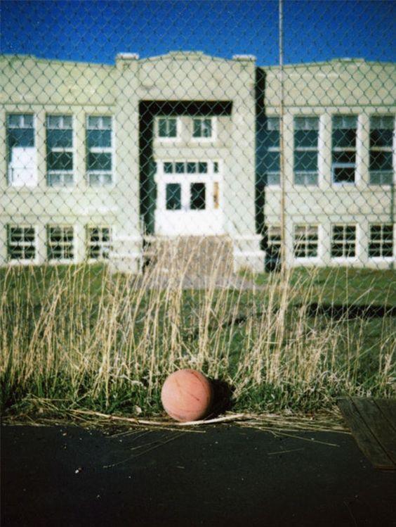 Playground Polaroid Photograph - Signed Fine Art Print - Farmland School, Schoolyard