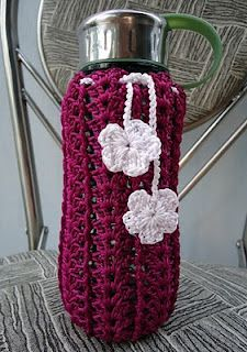 Crochet Bottle Cover - could make it slightly bigger for a gift bag...