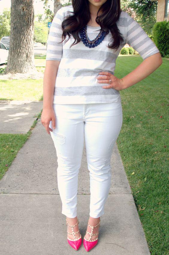 gray stripes, white pants, pink heels