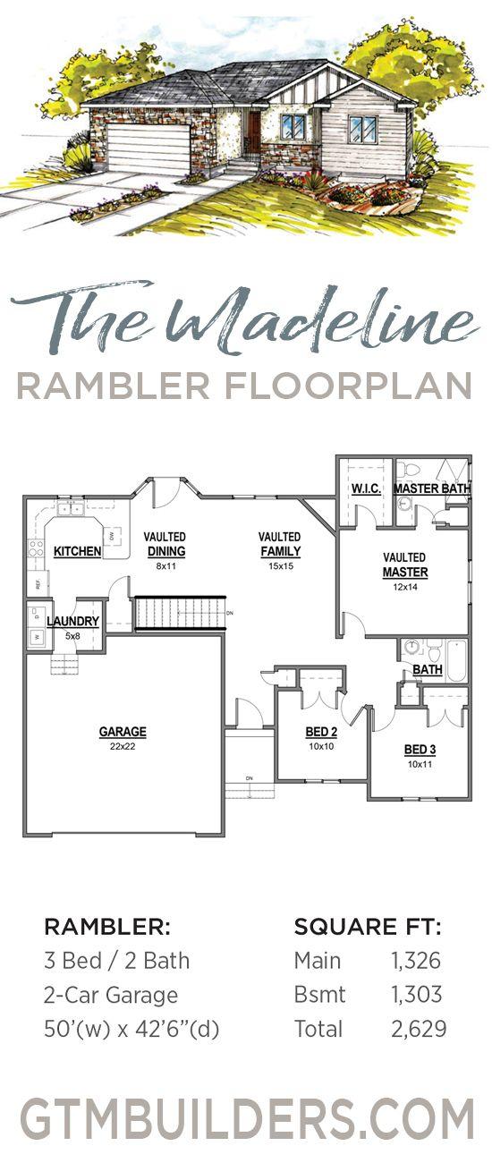 Tiffany Utah Floor Plan Edge Homes Floor Plans Rambler House Plans Bedroom House Plans