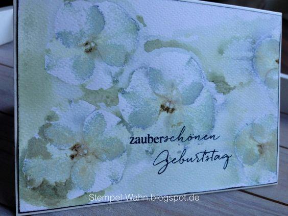 Hortensien auf Aquarellpapier durch die Bigshot