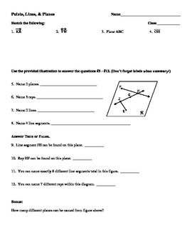 Geometry Points Lines Planes Worksheet | Geometry: Planes and ...