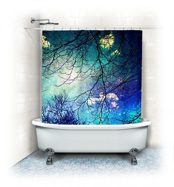 Fabric Shower Curtain night sky clouds by VintageChicImages, $64.99